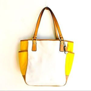 Coach White/Yellow Leather Tote